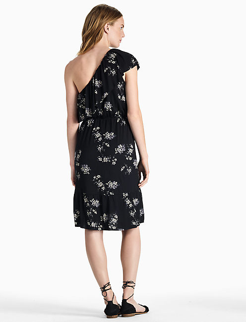 BOTANICAL RUFFLE DRESS, BLACK MULTI