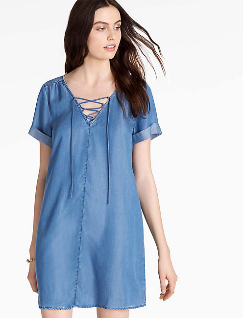LACE UP SWING DRESS,