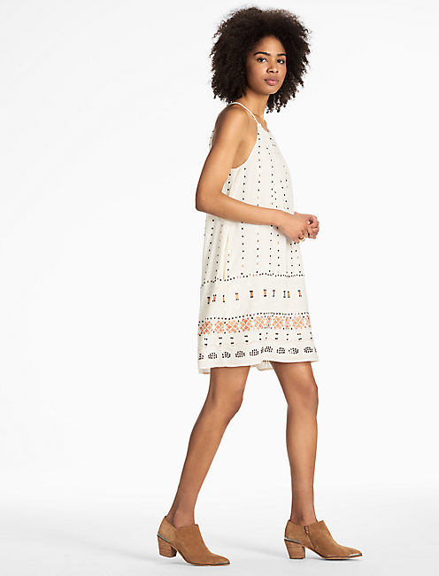 EMBROIDERED HALTER DRESS, EGGSHELL