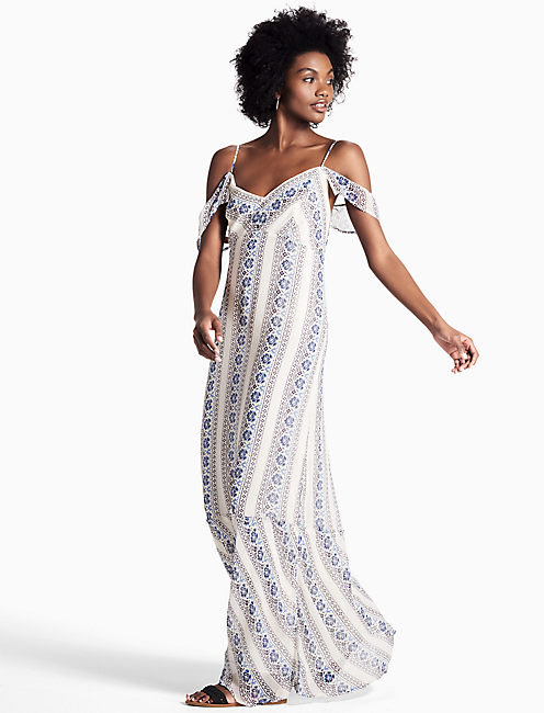FLORAL STRIPE MAXI DRESS,