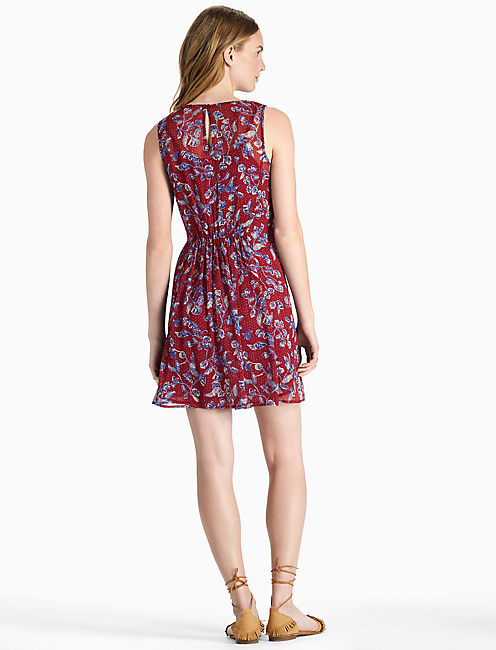RED MIXED PRINT DRESS,