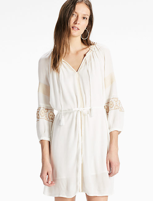 BOHO SLEEVE DRESS, EGGSHELL