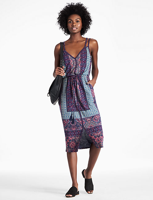 BORDER PRINT MIDI DRESS,