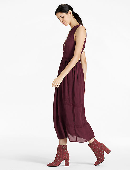 EMBROIDERED DRESS, port royale