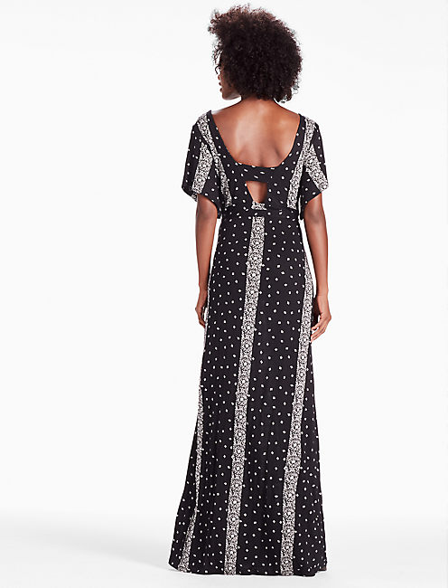 STRIPED DITSY MAXI, BLACK MULTI