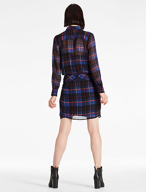 TIE SHIRT DRESS, BLUE MULTI