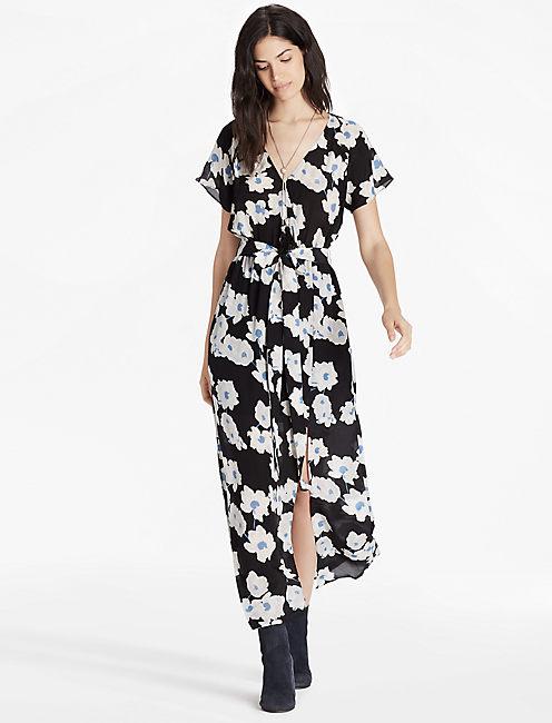 POPPY MEADOW DRESS, BLACK MULTI