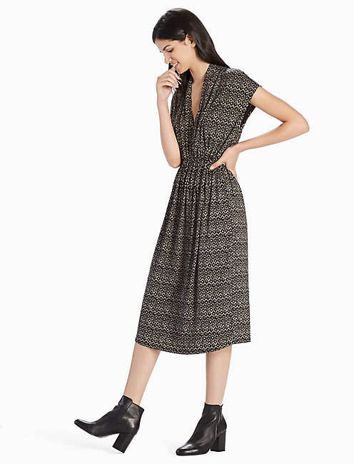 IKAT KNIT DRESS, BLACK MULTI
