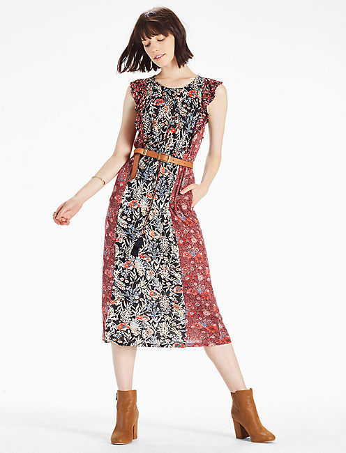 MIXED FLORAL  DRESS, MULTI
