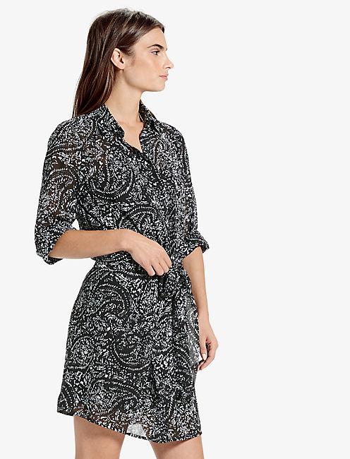 PRINTED TIE FRONT DRESS, BLACK MULTI