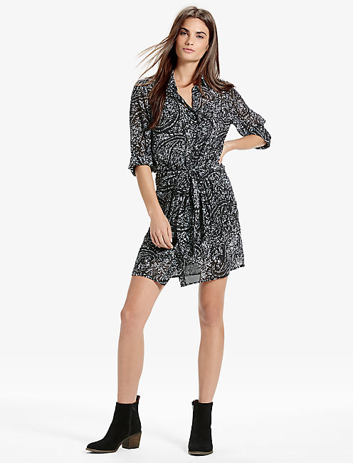 Lucky Printed Tie Front Dress