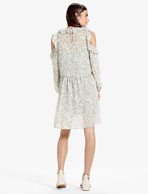 COLD SHOULDER DRESS, GREY MULTI
