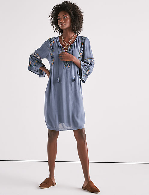EMBROIDERED BELL SLEEVE DRESS,