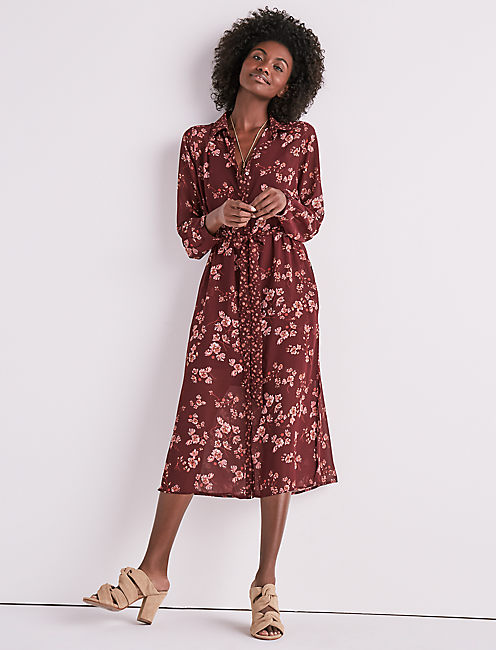 MIXED PRINT EMILY DRESS, BURGUNDY MULTI