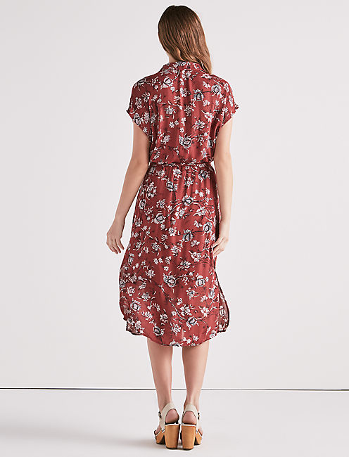 PRINTED EMILY DRESS, BURGUNDY MULTI