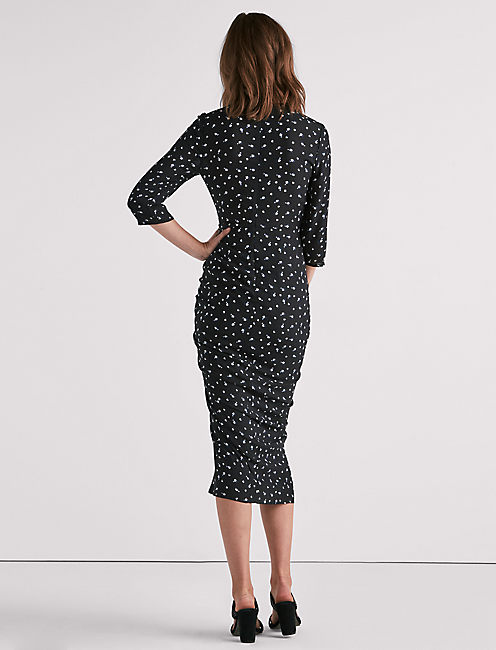 WRAP DRESS, BLACK MULTI