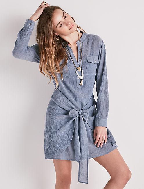 CHAMBRAY TIE WAIST DRESS,