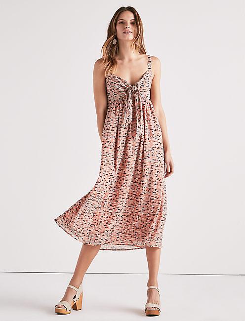 PRINTED TIE FRONT DRESS,