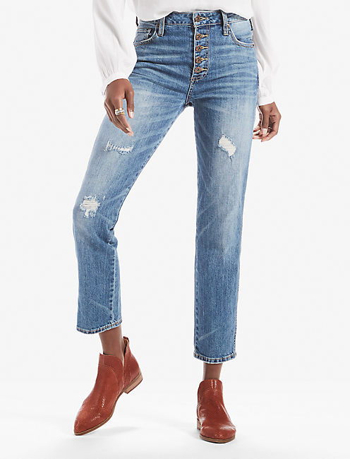 HIGH RISE TOMBOY JEAN WITH EXPOSED BUTTON FLY, SAFFORD