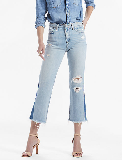 HIGH RISE CROPPED FLARE JEAN IN GYSER,