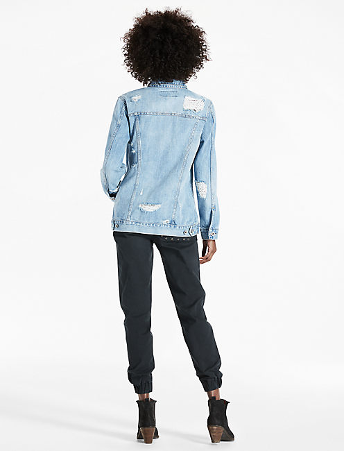 BOYFRIEND DENIM JACKET WITH EMBROIDERY,