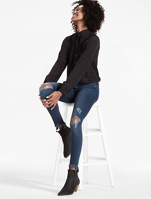 BROOKE MID RISE LEGGING JEAN WITH CHEWED HEM, PALACIOS