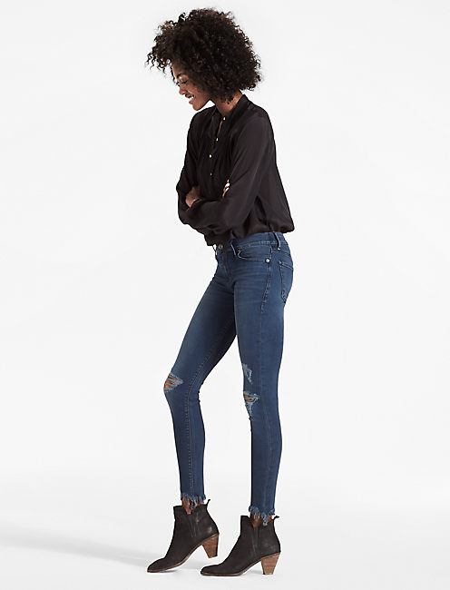 Lucky Brooke Mid Rise Legging Jean With Chewed Hem