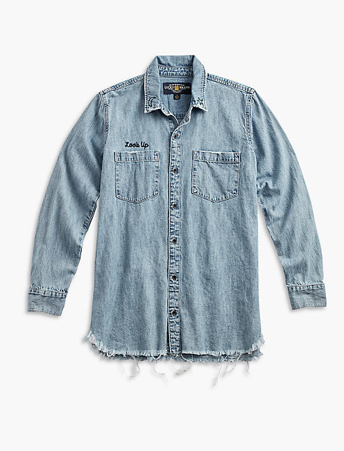 "DENIM BOYFRIEND SHIRT WITH ""LOOK UP"" EMBROIDERY, UPSTREAM"