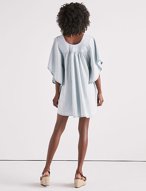SHIRRED CHAMBRAY DRESS,