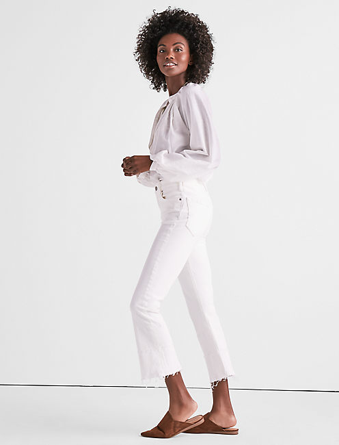 Lucky Bridgette Cropped Boot Jean In Clean White With Released Hem