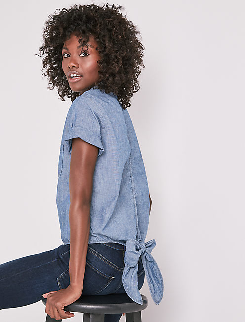 CHAMBRAY TIED BUTTON UP SHIRT,