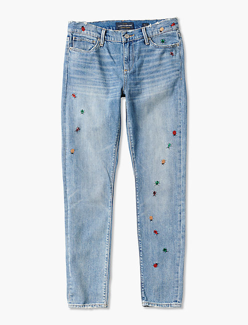 AVA MID RISE SKINNY JEAN WITH DITSY BUG EMBROIDERY,