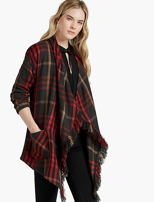 PLAID FASHION JACKET, CHARCOAL MULTI