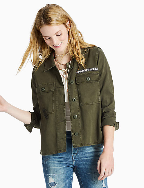 NOVELTY SHIRT JACKET, CACTUS OLIVE