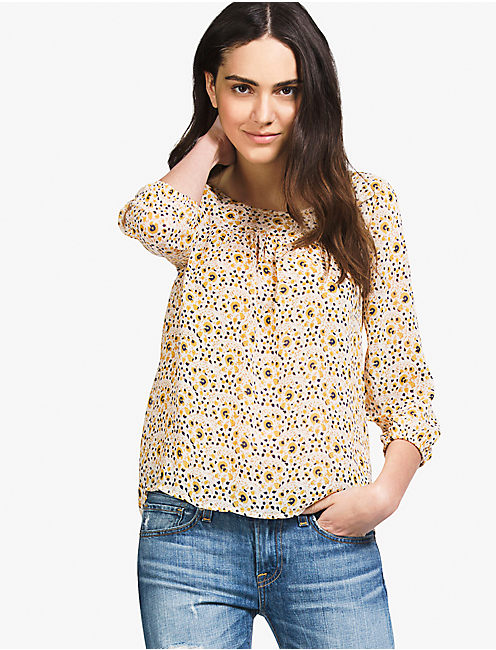 WOODBLOCK FLORAL BLOUSE,
