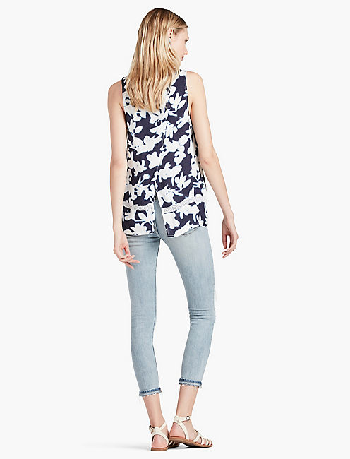 FLORAL CROSS BACK TANK,