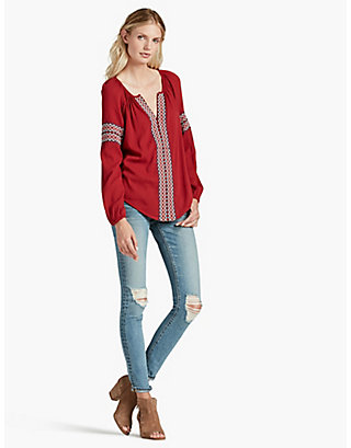 LUCKY VERTICAL EMBROIDERED PEASANT