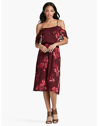 LUCKY FLORAL RUFFLE MIDI