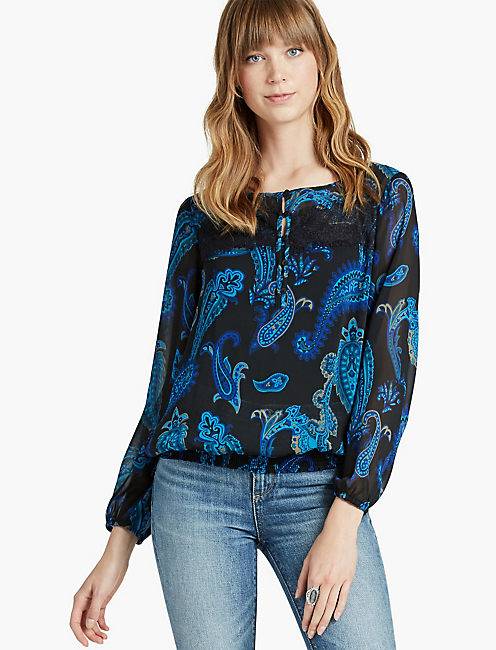 SHATTERED PAISLEY BANDED TOP,