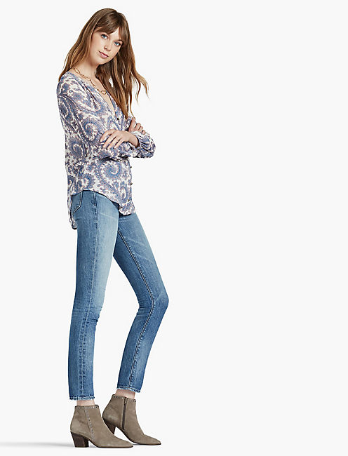 LUCKY PAISLEY BTN FRNT BLOUSE