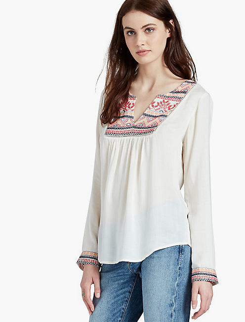 EMBROIDERED BIB TOP, EGGSHELL