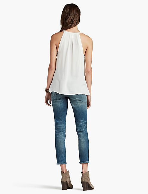 MEDALLION EMBROIDERED ANGLE TANK,