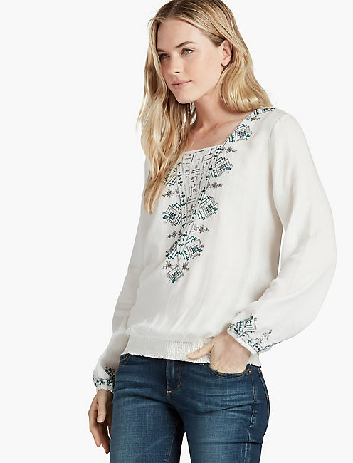 EMBROIDERED SMOCKED BOTTOM, EGGSHELL