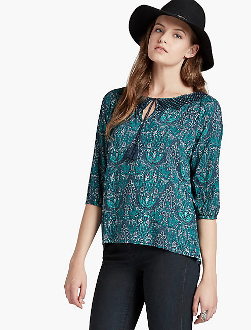 EMBROIDERED NECK PAISLEY PEASANT,