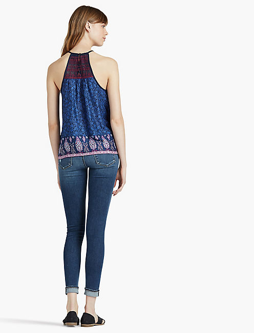 EMBROIDERED HALTER TANK,