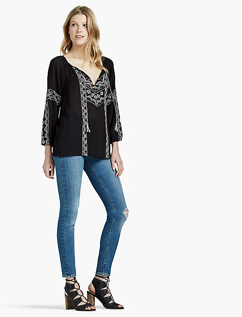 LUCKY EMBROIDERED GAUZE PEASANT TOP