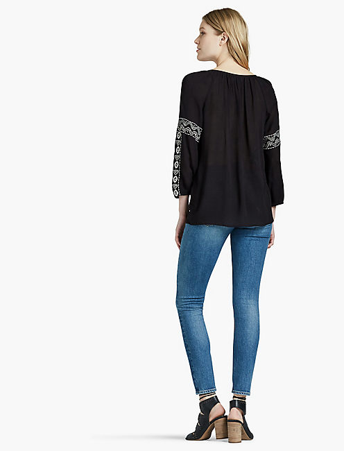 EMBROIDERED GAUZE PEASANT TOP,