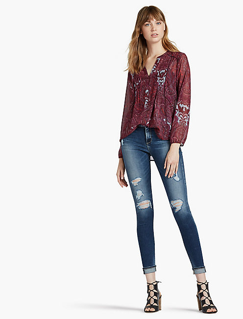 Lucky Button Down Paisley Peasant