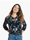 FLORAL GATHERED NECK PEASANT TOP,