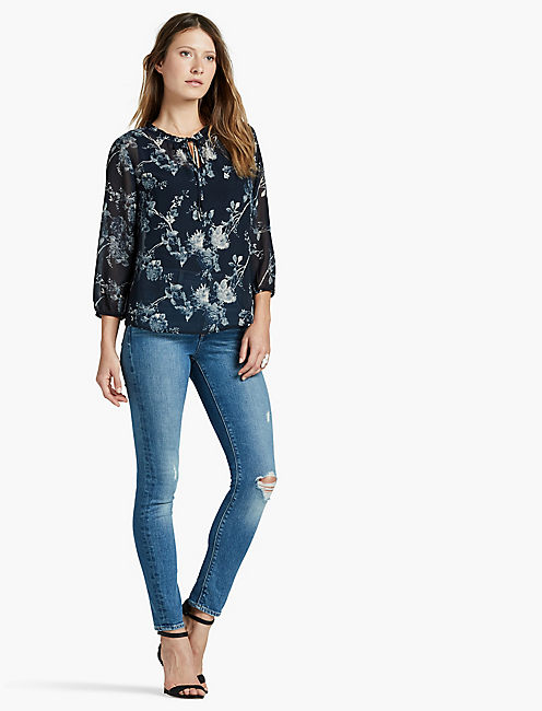 Lucky Floral Gathered Neck Peasant Top